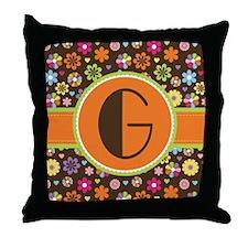 Letter G Monogram Flowered Throw Pillow