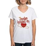 Jayden Lassoed My Heart Women's V-Neck T-Shirt