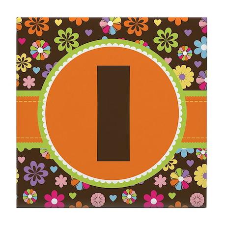 Letter I Monogram Floral Tile Coaster