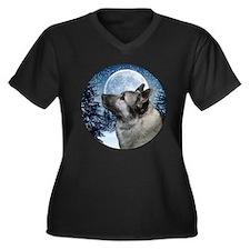 Norwegian Elkhound Women's Plus Size V-Neck Dark T