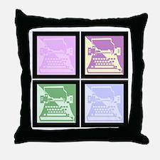 Pastel Pop Art Typewriter Throw Pillow