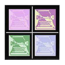 Pastel Pop Art Typewriter Tile Coaster