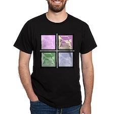 Pastel Pop Art Typewriter Black T-Shirt