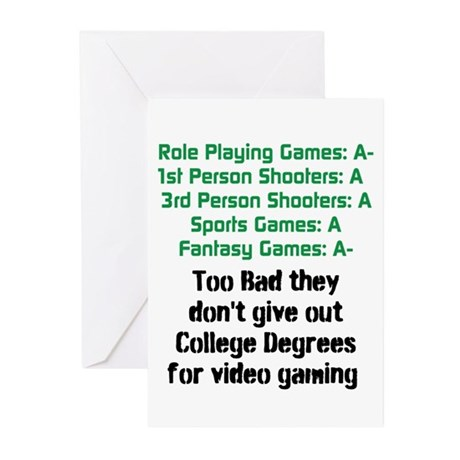 Gaming College Degrees Greeting Cards (Pk of 10)
