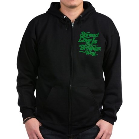 Brooklyn Love Green Zip Hoodie (dark)