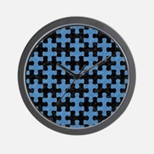 PUZZLE1 BLACK MARBLE & BLUE COLORED PEN Wall Clock