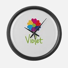 Violet Valentine Flower Large Wall Clock