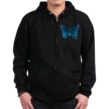 Big blue butterfly Zip Hoodie (dark)