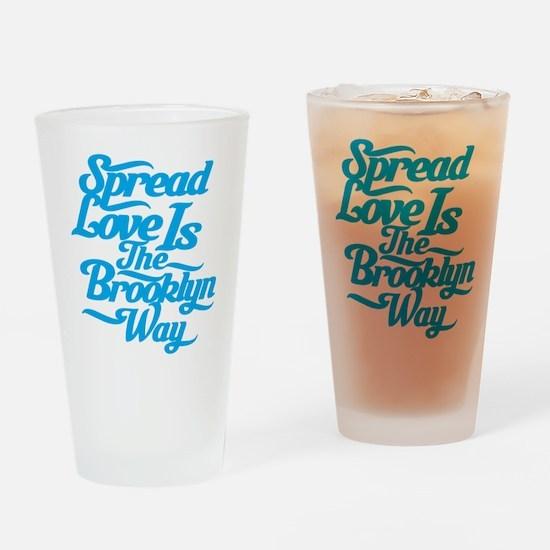 Brooklyn Love Blue Drinking Glass
