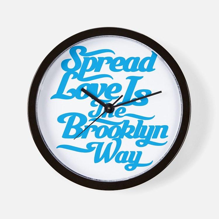 Brooklyn Love Blue Wall Clock