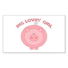 Pig girl Rectangle Decal