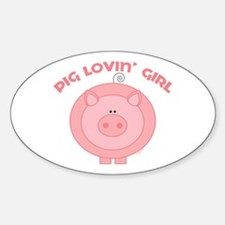 Pig girl Oval Decal