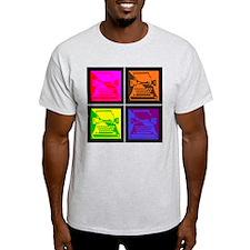 Vivid Pop Art Typewriter Ash Grey T-Shirt