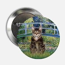 "Bridge / Brown tabby cat 2.25"" Button"