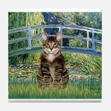 Bridge / Brown tabby cat Tile Coaster