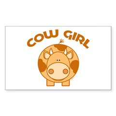 Brown Cow girl Rectangle Sticker