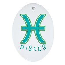 Zodiac Pisces Oval Ornament