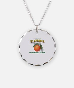 Florida Sunshine State Necklace Circle Charm