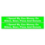 I Spend My Gas Money On Bicycle Sticker