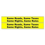 Same Roads, Same Rights Bicycle Frame Sticker