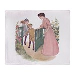 1900's Mother at the Gate Throw Blanket