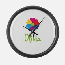 Olivia Valentine Flower Large Wall Clock