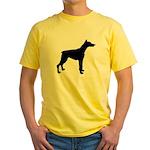Doberman Pinscher Silhouette Yellow T-Shirt