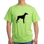 Doberman Pinscher Silhouette Green T-Shirt