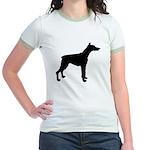 Doberman Pinscher Silhouette Jr. Ringer T-Shirt
