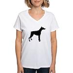 Doberman Pinscher Silhouette Women's V-Neck T-Shir