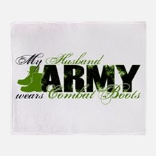 Husband Combat Boots - ARMY Throw Blanket
