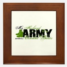 Husband Combat Boots - ARMY Framed Tile