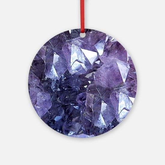 Amethyst Crystal Cluster Round Ornament