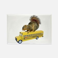 Squirrel on School Bus Rectangle Magnet