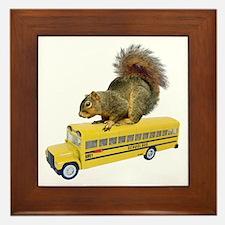 Squirrel on School Bus Framed Tile