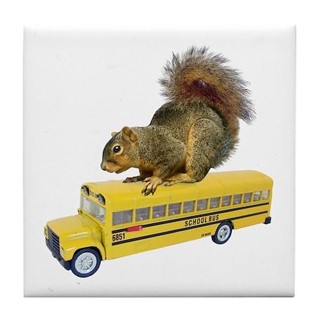 Squirrel on School Bus Tile Coaster