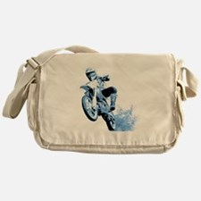 Blue Dirtbike Wheeling in Mud Messenger Bag