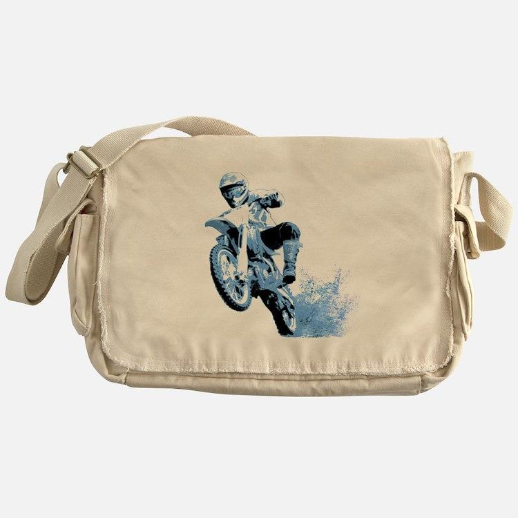 Blue Dirtbike Wheeling in Mud Messenger Bag