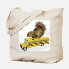 Squirrel on School Bus Tote Bag