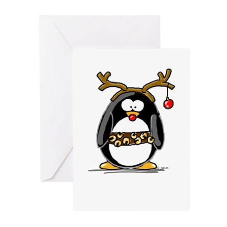 Rudolph penguin Greeting Cards (Pk of 10)