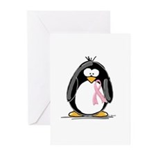 Breast Cancer penguin Greeting Cards (Pk of 10