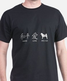 Japanese Peace, Love, Akitas T-Shirt