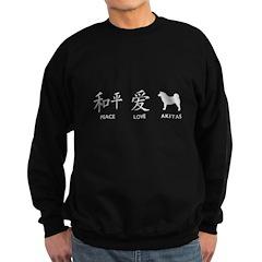 Japanese Peace, Love, Akitas Sweatshirt