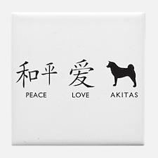 Japanese Peace, Love, Akitas Tile Coaster
