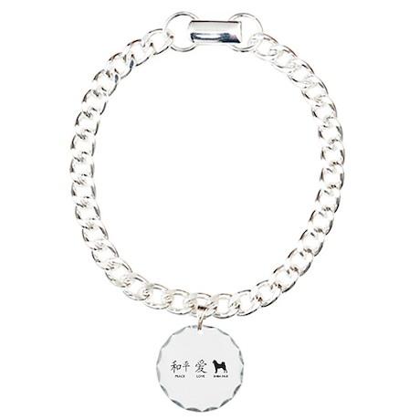 Japanese Peace, Love, Shibas Charm Bracelet, One C