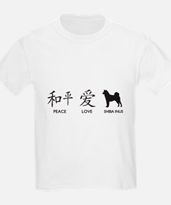 Japanese Peace, Love, Shibas T-Shirt
