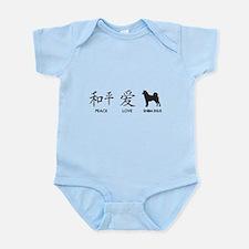 Japanese Peace, Love, Shibas Infant Bodysuit