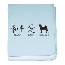 Japanese Peace, Love, Shibas baby blanket