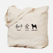 Japanese Peace, Love, Shibas Tote Bag