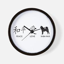 Japanese Peace, Love, Shibas Wall Clock